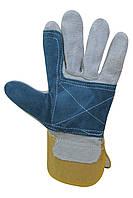 Перчатки рабочие с двойным наладонником серые Seven 69061