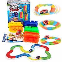 Magic Tracks гнущий светящийся трек 200 деталей, Меджик трек гоночная трасса, конструктор - подарок для детей