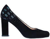 Женские туфли натуральная замша/велюр на каблуке МАРІНІ