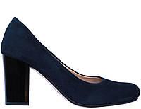 Женские туфли из натурального велюра,темно-синие МАРІНІ