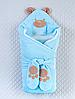 """Зимний велюровый Конверт - одеяло  на выписку """"Панда"""" (голубой)"""