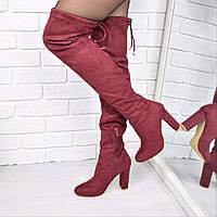 Сапоги женские ботфорты Stuart Weitzman бордо 3681 , осенняя обувь