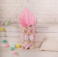 Конверт-одеяло на выписку, Ванильные сердечки