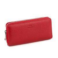 Кожаный женский клатч-кошелёк красный флотар