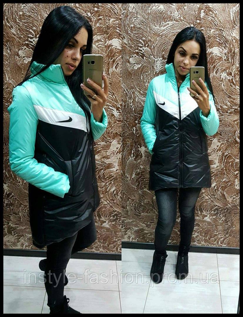 94193049 Женская куртка Nike Найк ткань плащевка на синтепоне 150 цвет черный с  бирюзой