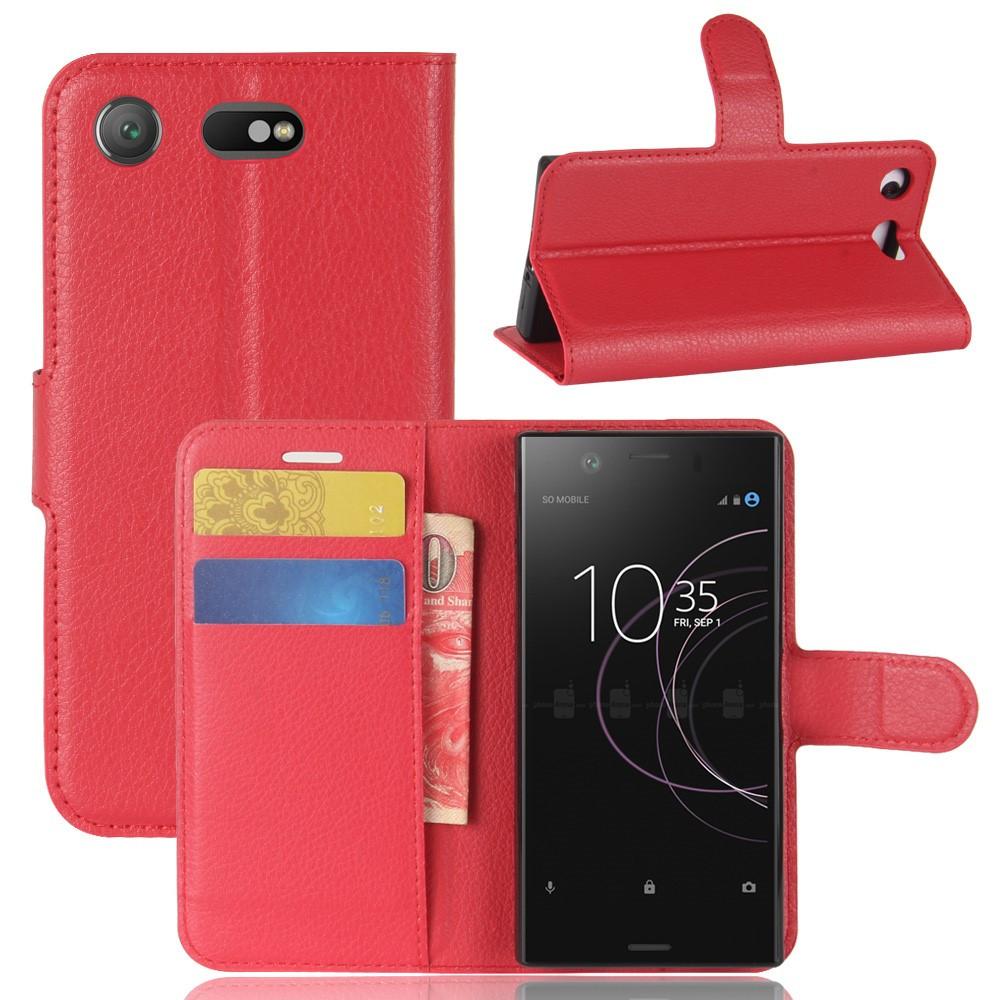 Чехол книжка для Sony Xperia XZ1 Compact боковой с отсеком для визиток, красный