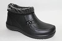 Галоши женские меховые оптом черные Клеопатра Прогресс, фото 1