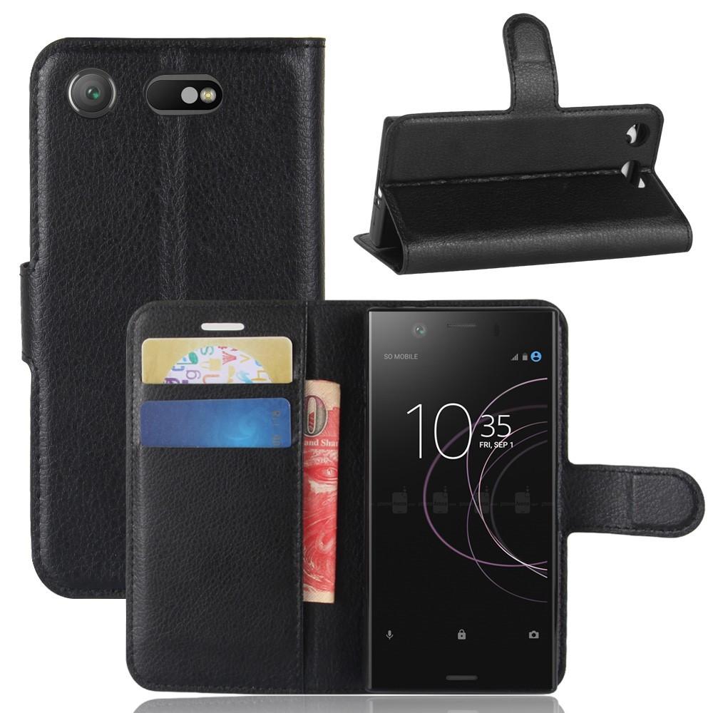 Чехол книжка для Sony Xperia XZ1 Compact боковой с отсеком для визиток, черный