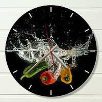 """Настенные часы на кухню - """"Перчик"""" (на пластике)"""