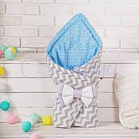 Конверт-одеяло на выписку, Зигзаг серый с голубым