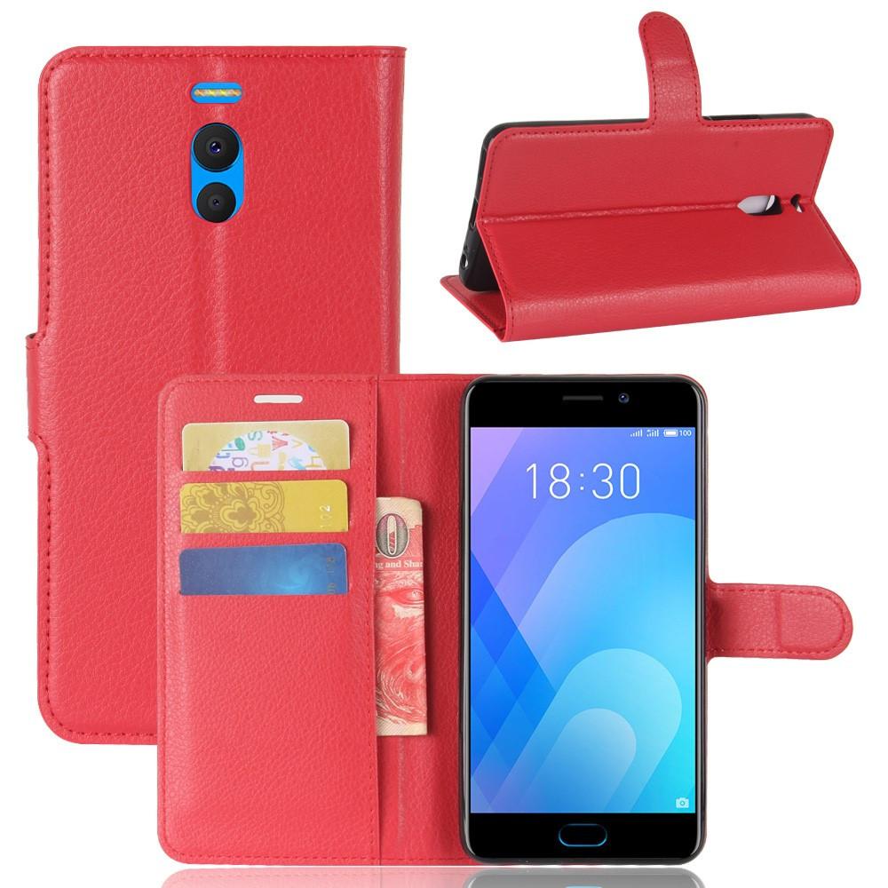 Чехол книжка для Meizu M6 Note боковой с отсеком для визиток, красный
