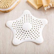 Силиконовая решетка для раковины 15 см Морская звезда (Белый) top-0073, фото 3
