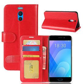 Чехол книжка для Meizu M6 Note боковой с отсеком для визиток, Гладкая кожа, красный