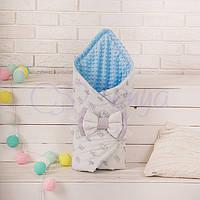 Конверт-одеяло на выписку, Короны с голубым