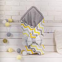 Конверт-одеяло на выписку, Зигзаги серо-желтые