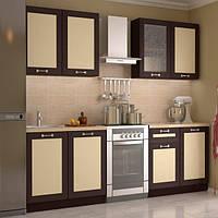 Кухонный гарнитур МДФ 2 м из 8 модулей венге, ваниль (кухонный комплект мебели)