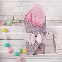 Конверт-одеяло на выписку, Сердечки серо-розовые