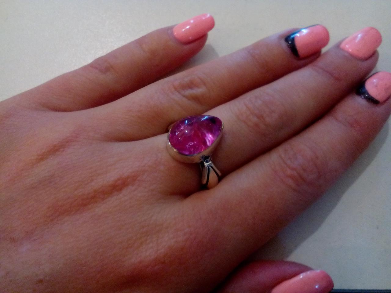 """Кольцо с камнем агат """"вены дракона"""" в серебре кольцо капля розовая с агатом 16,5-17 размер"""