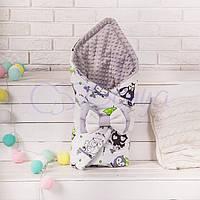 Конверт-одеяло на выписку, Совушки с зонтиком