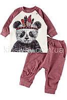 """Комплект: штаны и кофта """"Панда"""", бордовый (74, 80, 92 р-ры)"""