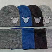 Комплект шапка двойная и снуд для девочки 1-3 года