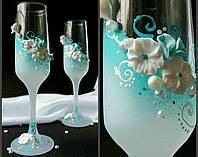 Бокалы под шампанское для бирюзовой свадьбы