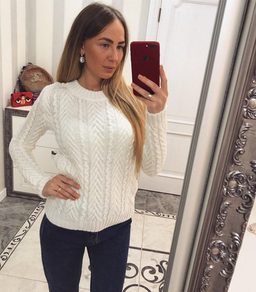 Женский свитер белый теплый