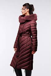 Длинное зимнее пальто с мехом мутона  Фелиция 2 Нью Вери (Nui Very) кофейный