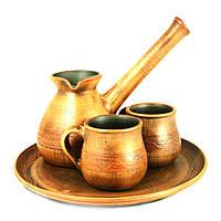 Кофейный набор турка 450мл чашки 2шт*150мл поднос керамические ручной работы 9458