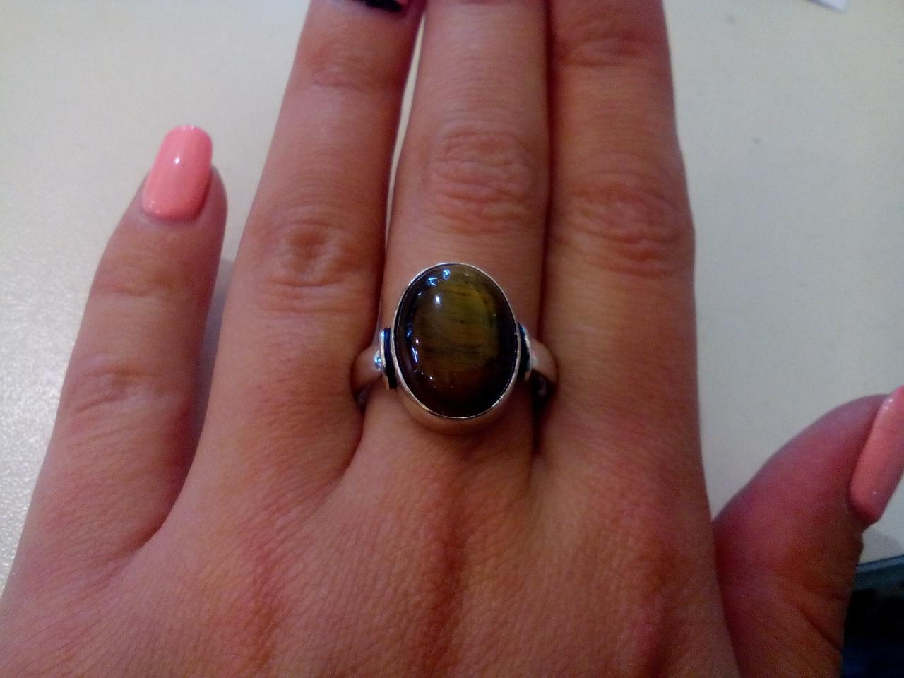 Кольцо тигровый глаз в серебре круглое кольцо с тигровым глазом 19,5 размер Индия