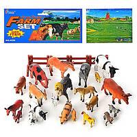 Детские игровые фигурки набор Ферма Животные(H638) домашние, игровое поле, забор, 21шт в пакете
