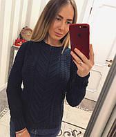 Женская свитер теплый с узором синий