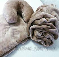 Набор 3в1(махра): чехол на кушетку, подушка, плед Цвет: темная пудра