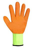 Перчатки рабочие синтетические салатовые с оранжевым нитриловым покрытием Seven WN-1001/G/ 69390
