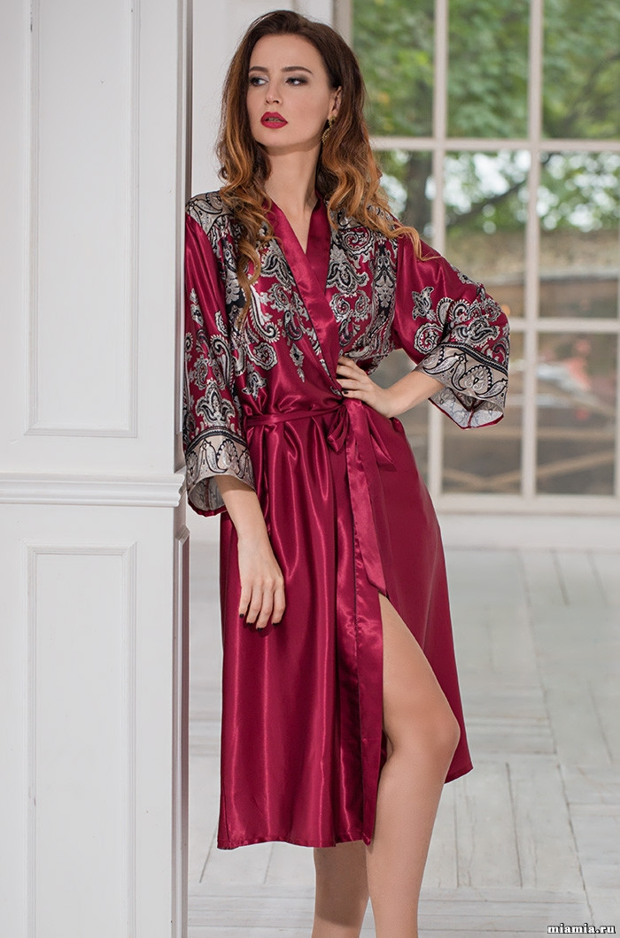 Длинный халат из натурального шелка. Италия Mia-Mia Джустин 3149