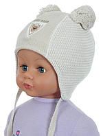 Теплая вязаная шапочка для мальчика бежевого цвета, ACHTI (Польша)