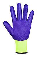 Перчатки рабочие синтетические салатовые с фиолетовым нитриловым покрытием Seven WN-1003/G/ 69391