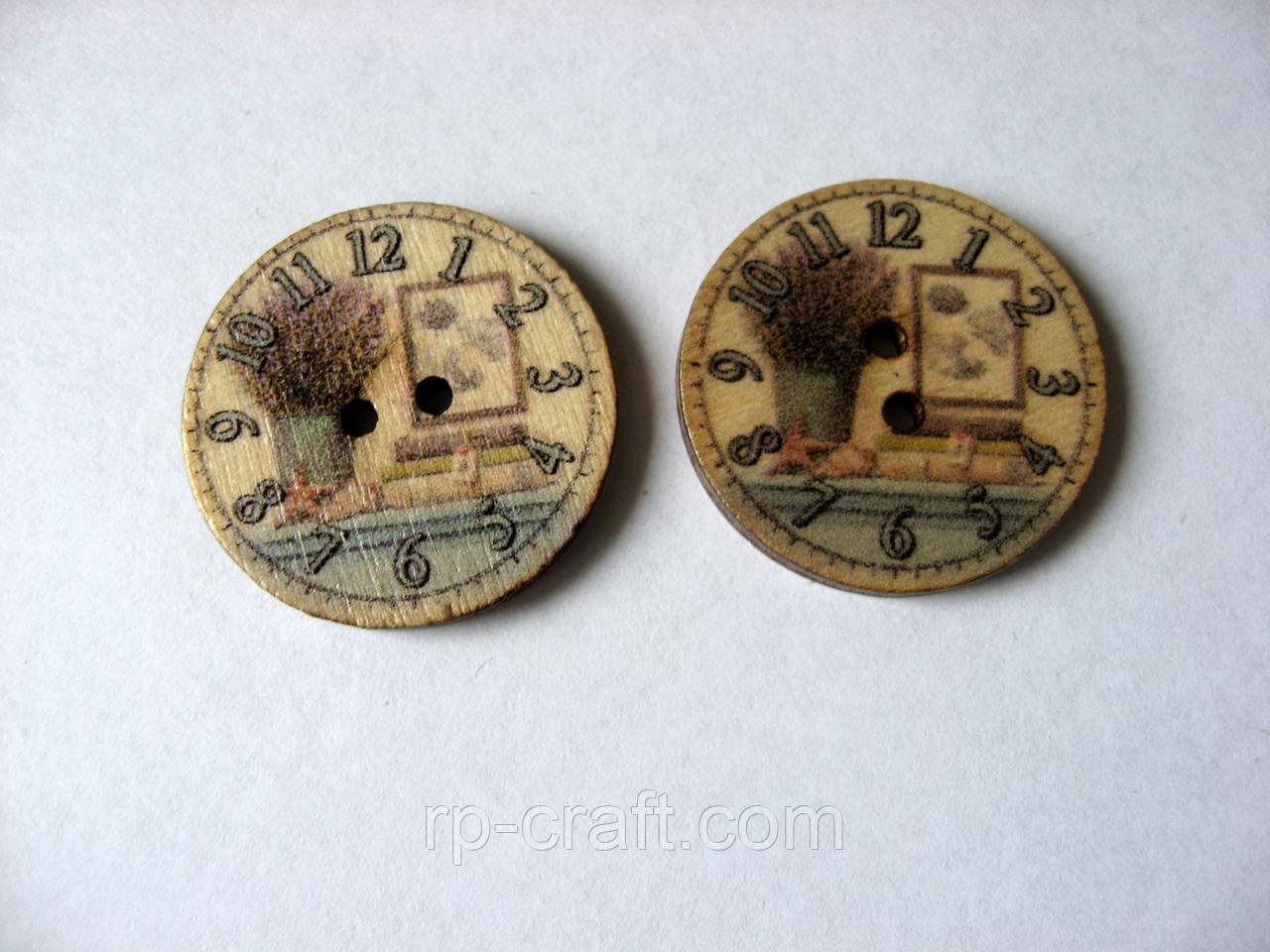 Гудзик дерев'яний, декоративний. Годинник з натюрмортом, 25 мм