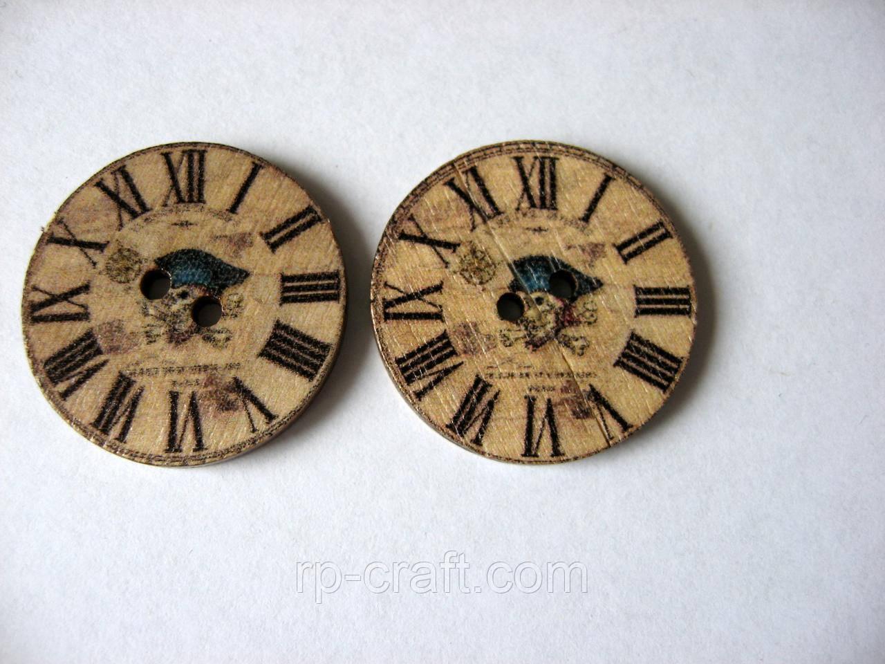 Гудзик дерев'яний, декоративний. Годинник з  черепом, 25 мм