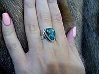 Красивое кольцо с камнем хризоколла в серебре кольцо с хризоколлой 19,5 размер, фото 1