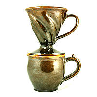 Кофейный набор Чашка и Пуровер керамические ручной работы для кофе 600мл 9445