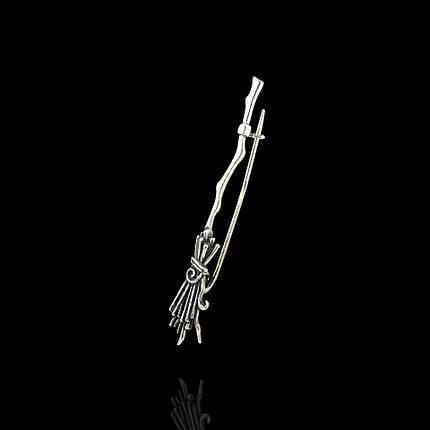 Серебряная брошь-булавка Метла, фото 2