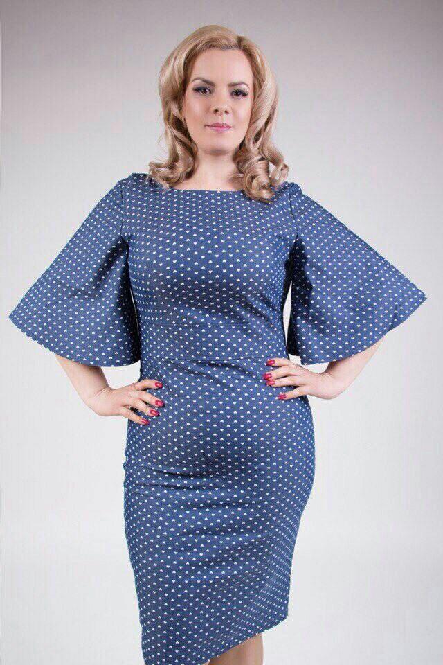"""Стильное женское платье с рукавами в форме колокола ткань """"Стрейч-коттон"""" 48, 50, 52, 54 размер батал"""