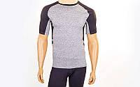 Компрессионная мужская футболка с коротким рукавом серый-черный