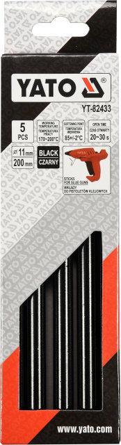 Комплект черных клеевых стержней 11,2 мм x 200 мм 5 шт. YATO YT-82433