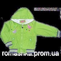 Детская ветровка на молнии с капюшоном,плащевка, Китай, р. 86, 92, 98
