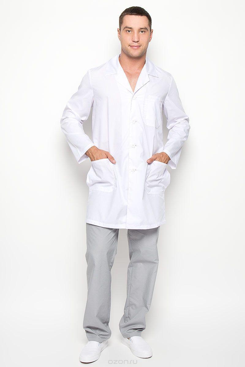 Халат медицинский мужской 03 48-176 рубашечный белый-белый