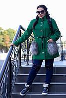 Женское батальное пальто с меховыми карманами r-8210BR