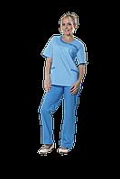 Жакет медицинский женский Мария 52-170 рубашечный светло голубой-голубой