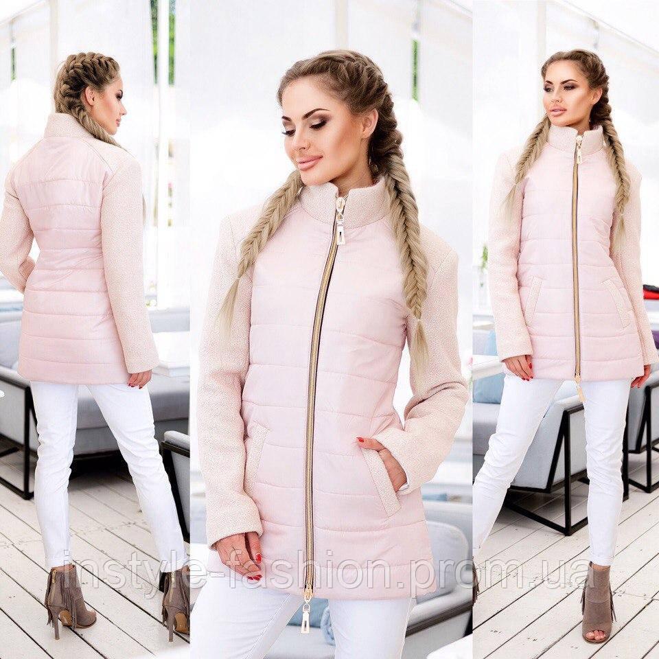 dce426491d6 Демисезонное пальто ткань плащевка+букле наполнитель синтепон 200 до 58  размера цвет бежевый